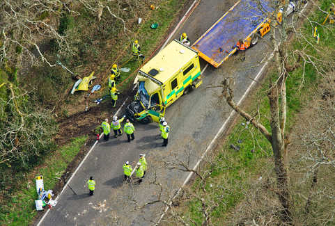 Aerial picture of the scene where an ambulance carrying four people left the road  and hit a tree killing the woman driver and a male patient. The crash also left seriously injured a relative and a paramedic. The accident happened between Brockenhurst and Lyndhurst in the New Forest.