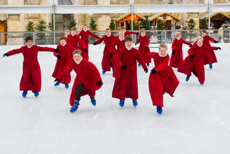The Boy Choristers of Winchester Cathedral are pictured Ice Skating outside Winchester Cathedral marking the approach of Christmas.