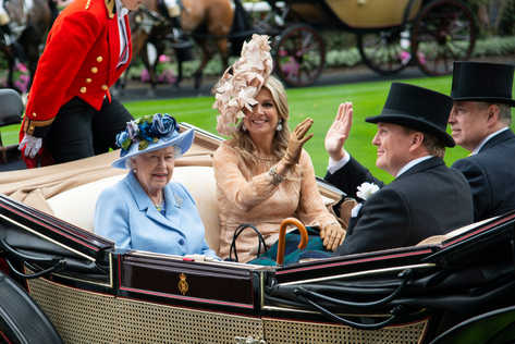 The Queen with Queen Máxima and Willem-Alexander of the Netherlands attending Royal Ascot