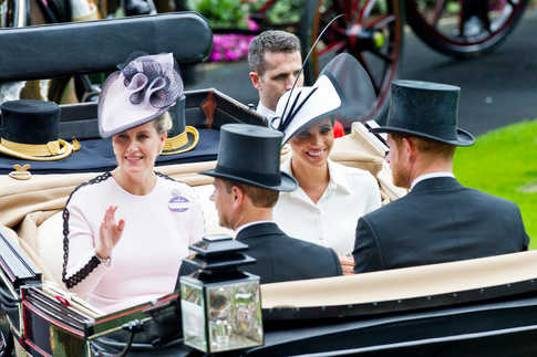 Thousands flock to the first day of Royal Ascot 2018 where for many, hats are as important as the horses. Picture shows Countess of Wessex and the Duchess of Sussex arriving at Royal Ascot.