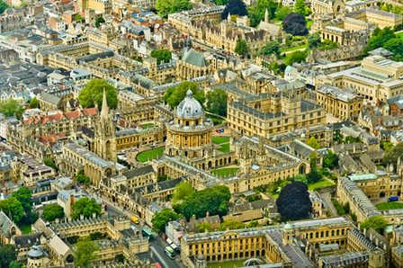 Aerial views of Oxford city.