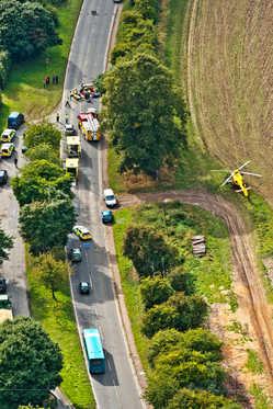 Emergency services attend scene of a car crash near High Wycombe, Bucks.