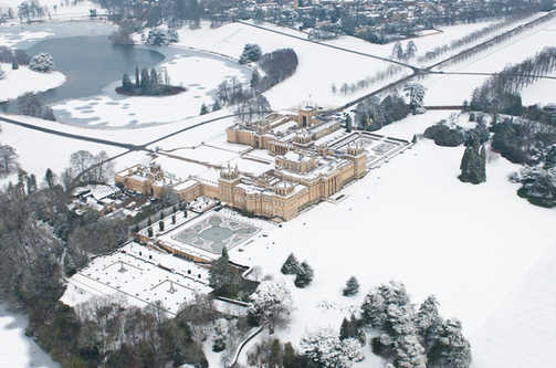 Aerial view of a snow covered Blenheim Palace.