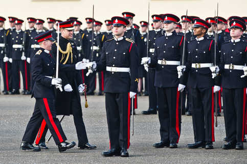 Duke of Cambridge at the Sovereign's Parade. Duke of Cambridge represents Her Majesty The Queen at The Sovereign's Parade at the Royal Military Academy in Sandhurst, Berk.. The Sovereign's Parade is held at the end of each term and marks the passing out of Officer Cadets who have completed their Commissioning Course.