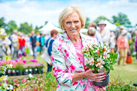 Blenheim Palace basks in glorious sunshine for the first day of its flower show with queen of cake making Mary Berry.