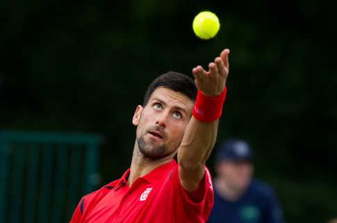 Novak Djokovic playing at Boodles Challenge.