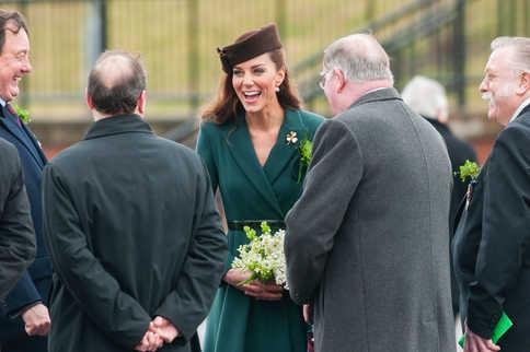 The Duchess of Cambridge celebrating Saint Patrick's Day a the Irish Guards Cavalry Barracks, Aldershot