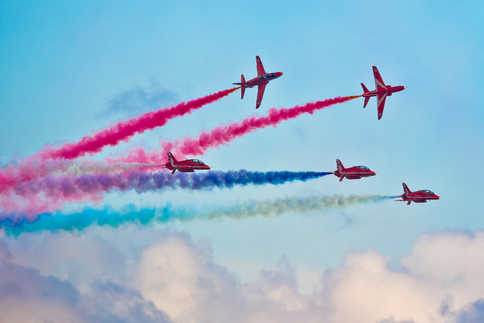 Red Arrows performing at Bournemouth Airshow.