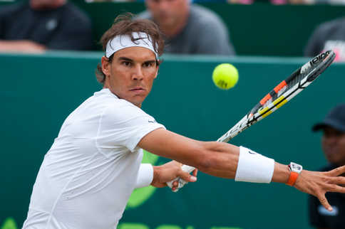Rafael Nadal playing at the Boodles Challenge.
