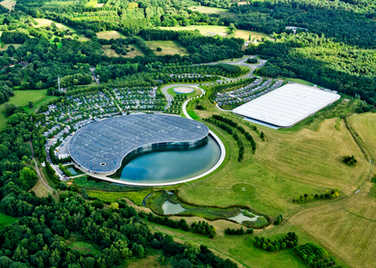 Picture shows aerial view of McLaren HQ.