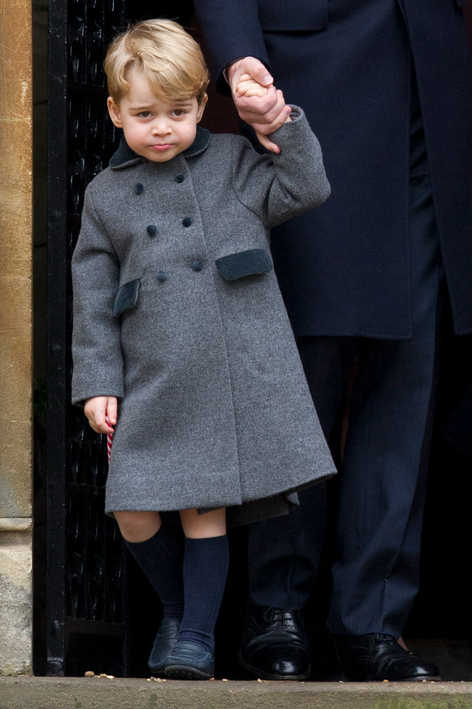 Prince George attending Christmas service with his parents the Duke and Duchess of Cambridge.
