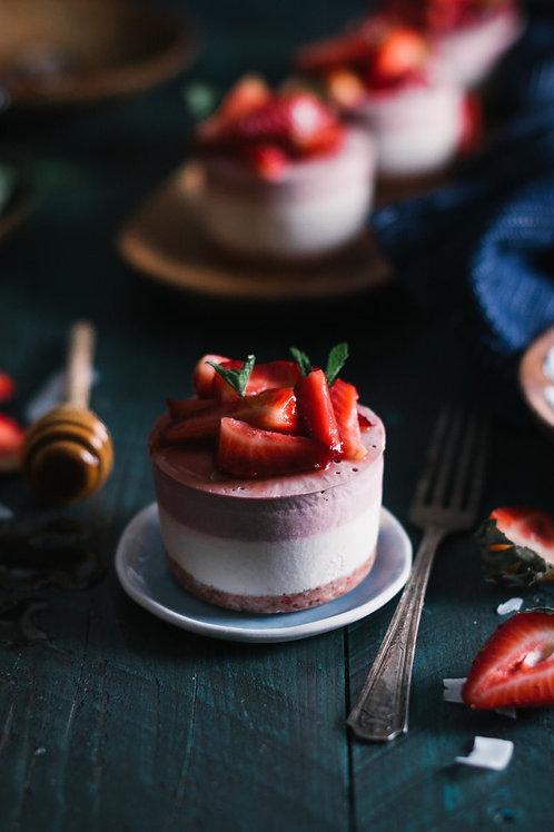 Raw Strawberry Coconut Cake