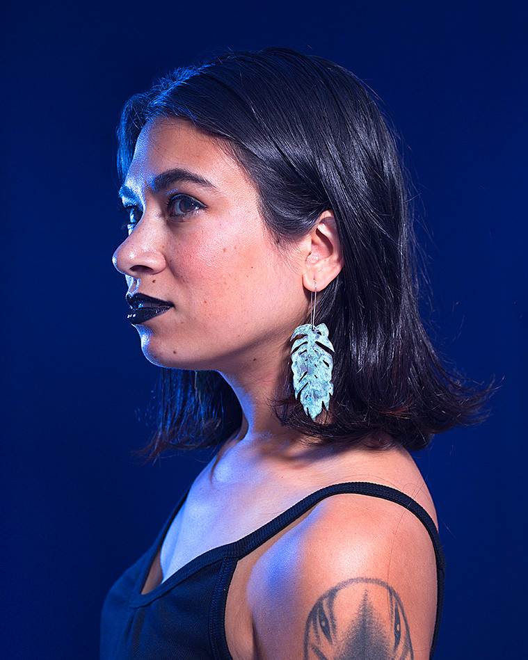Kameko Branchaud, photographed by Sarah Belclaire. Earrings by Kameko Branchaud.