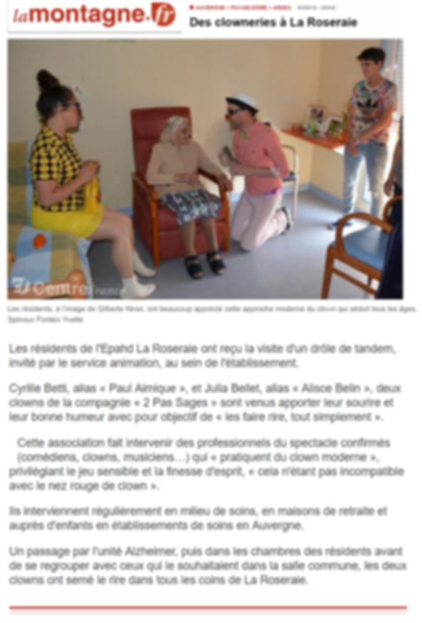 Clown maisons de retraite Auvergne