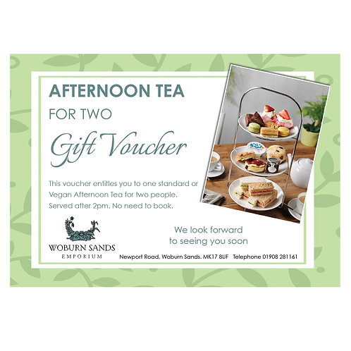 Standard Afternoon Tea for Two  Gift Voucher