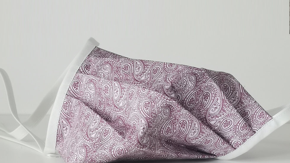 Behelfsmaske Baumwolle - Paisley Weiß/Altrose