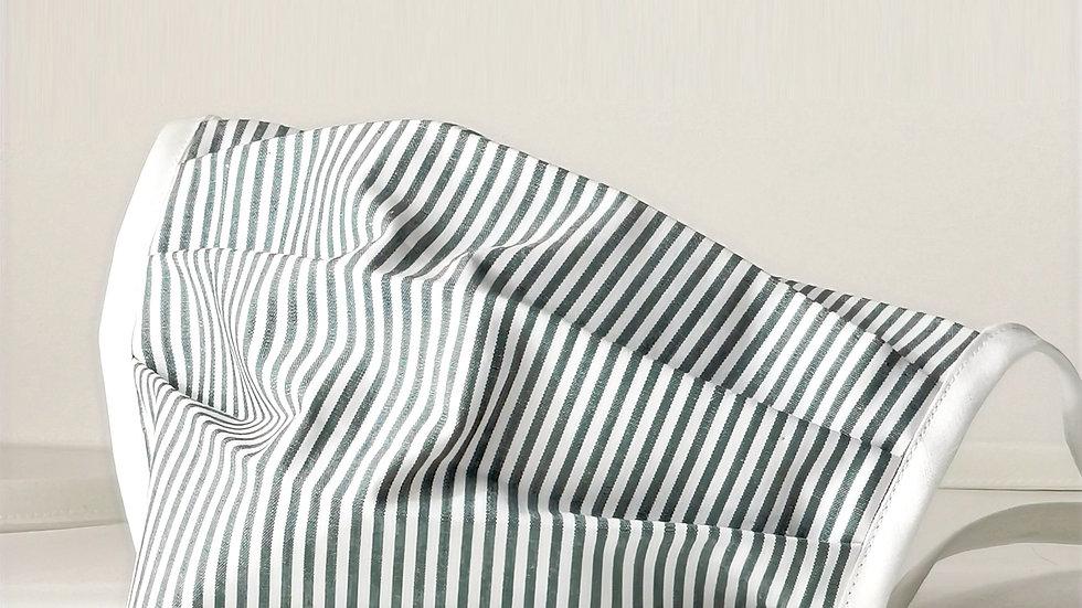 Behelfsmaske Baumwolle - Streifen Oliv/Grau