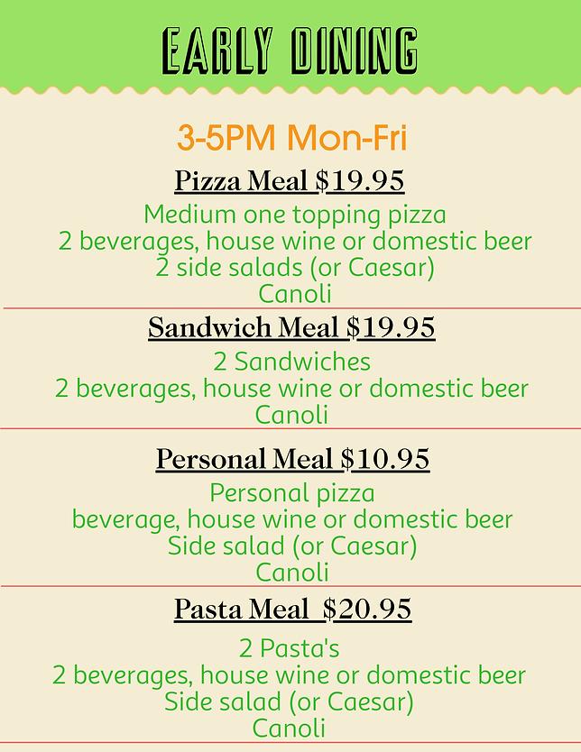 Early Dining Menu Cheap Seats Riverwalk-