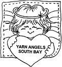 Yarn Angels logo Angel holding heart that says Yarn Angels South Bay