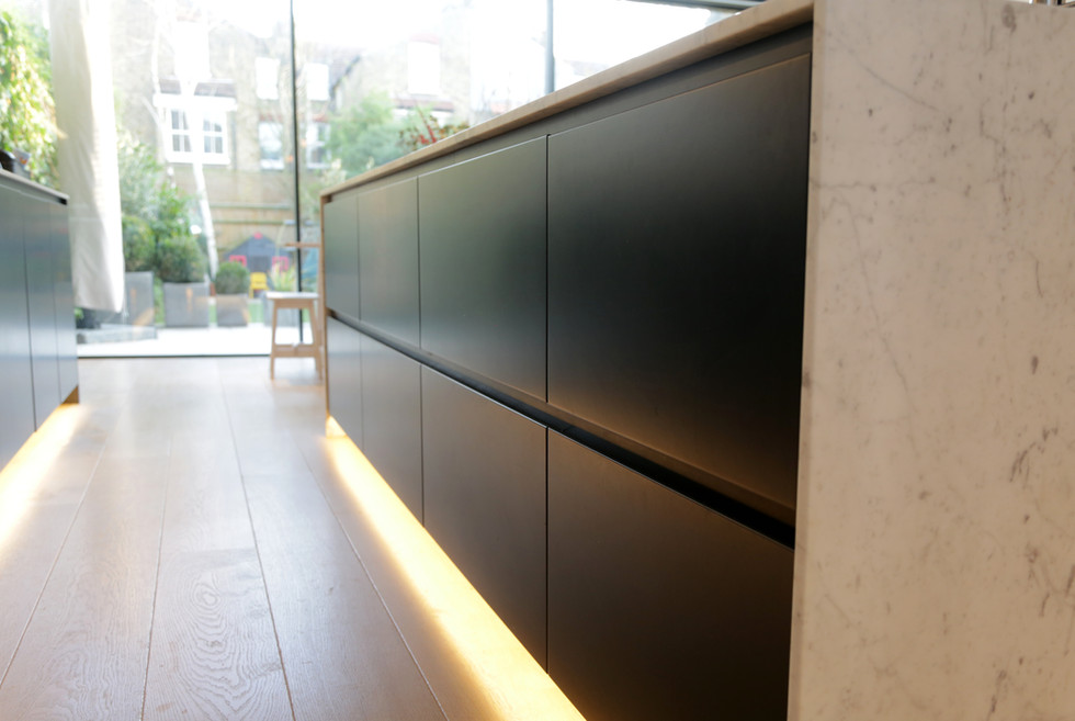 Dark grey kitchen units
