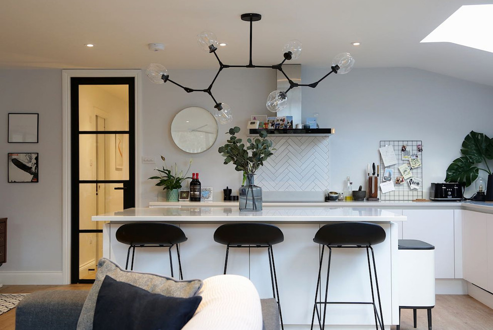 Kitchen with bespoke crittall style door