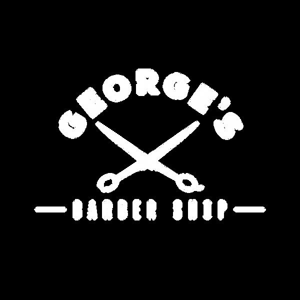 white George's Barber Shop Logo (OUTLINE