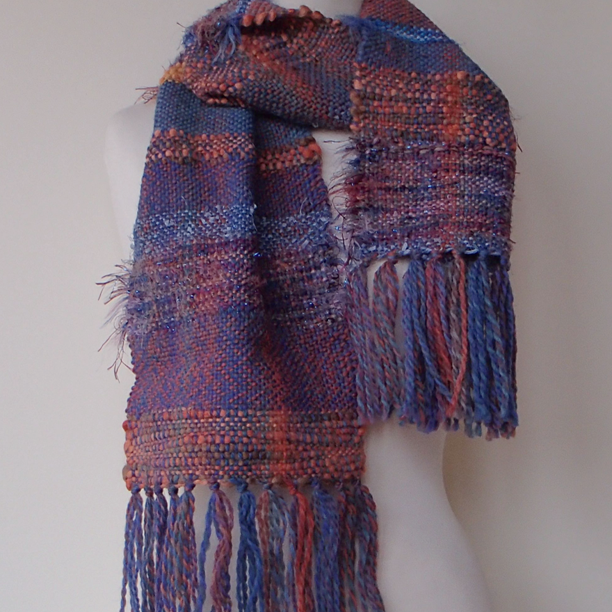 scarf-woven-blue-and-orange-