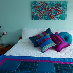 silk cushions with contrasting pipin