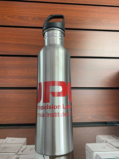 JPL Stainless Insulated Water Bottle Silver with Red Logo