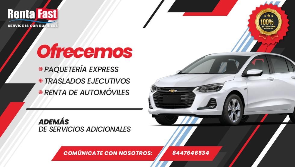 Ofrecemos paquetería express, traslados ejecutivos y renta de automóviles.