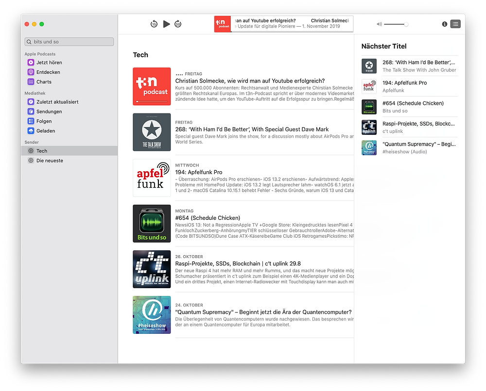 Apple Podcasts for MacOS - right bar