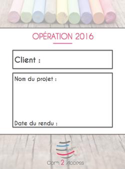 C2A - Fiche Opération 2016