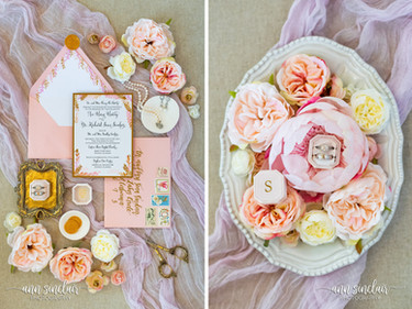 Ann + Sean | Wedding | Flat Lay Photos | Blush + Gold | Styled Shoot