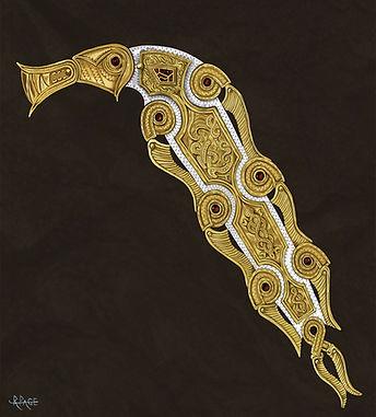 Sutton Hoo Dragon Charm Historical Illustration