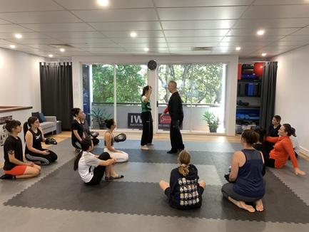 demonstrating at women's self defence workshop