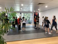 practising drills kung fu women
