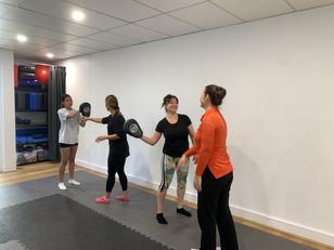 making friends at women's self defence workshop