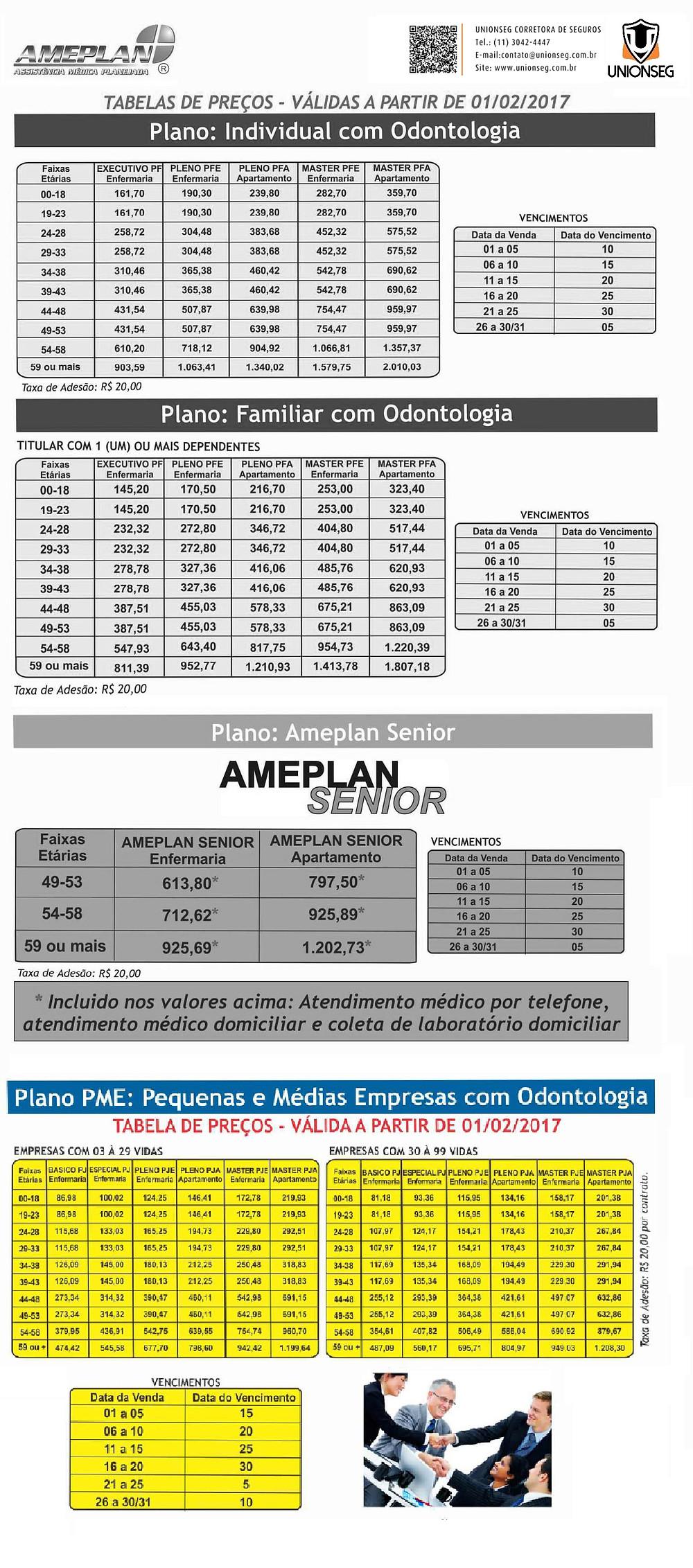Tabela de Preço Ameplan, Ameplan, plano de saúde,convênio médico, plano de sáúde sênior, unionseg, corretora de seguros