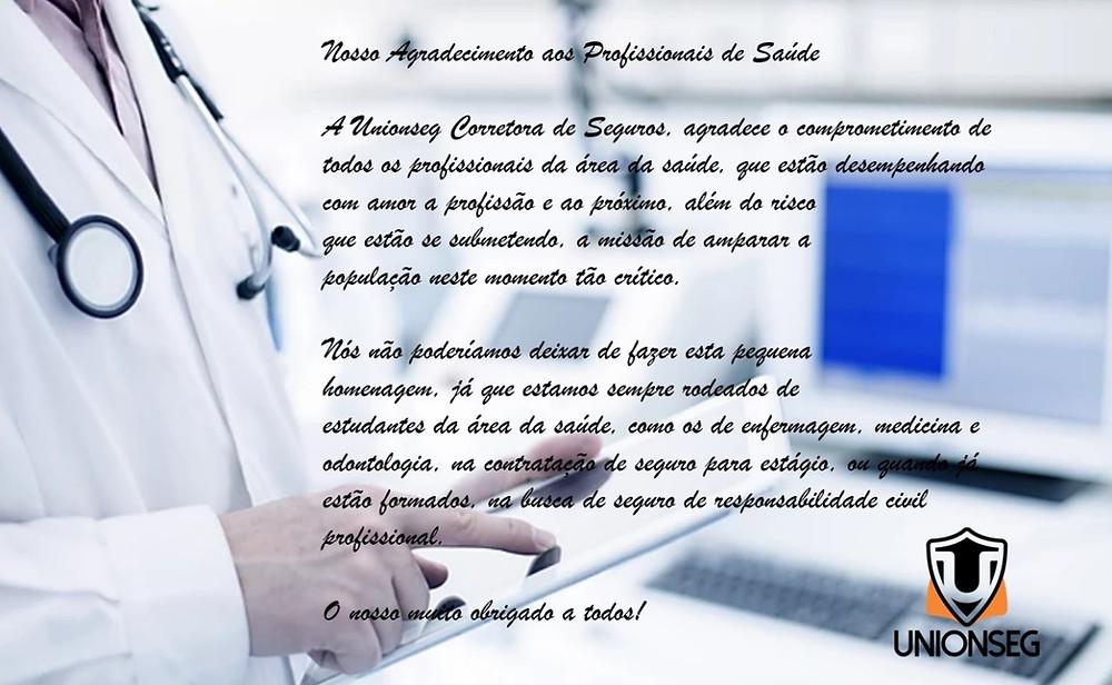 Agradecimento aos Profissionais de Saúde