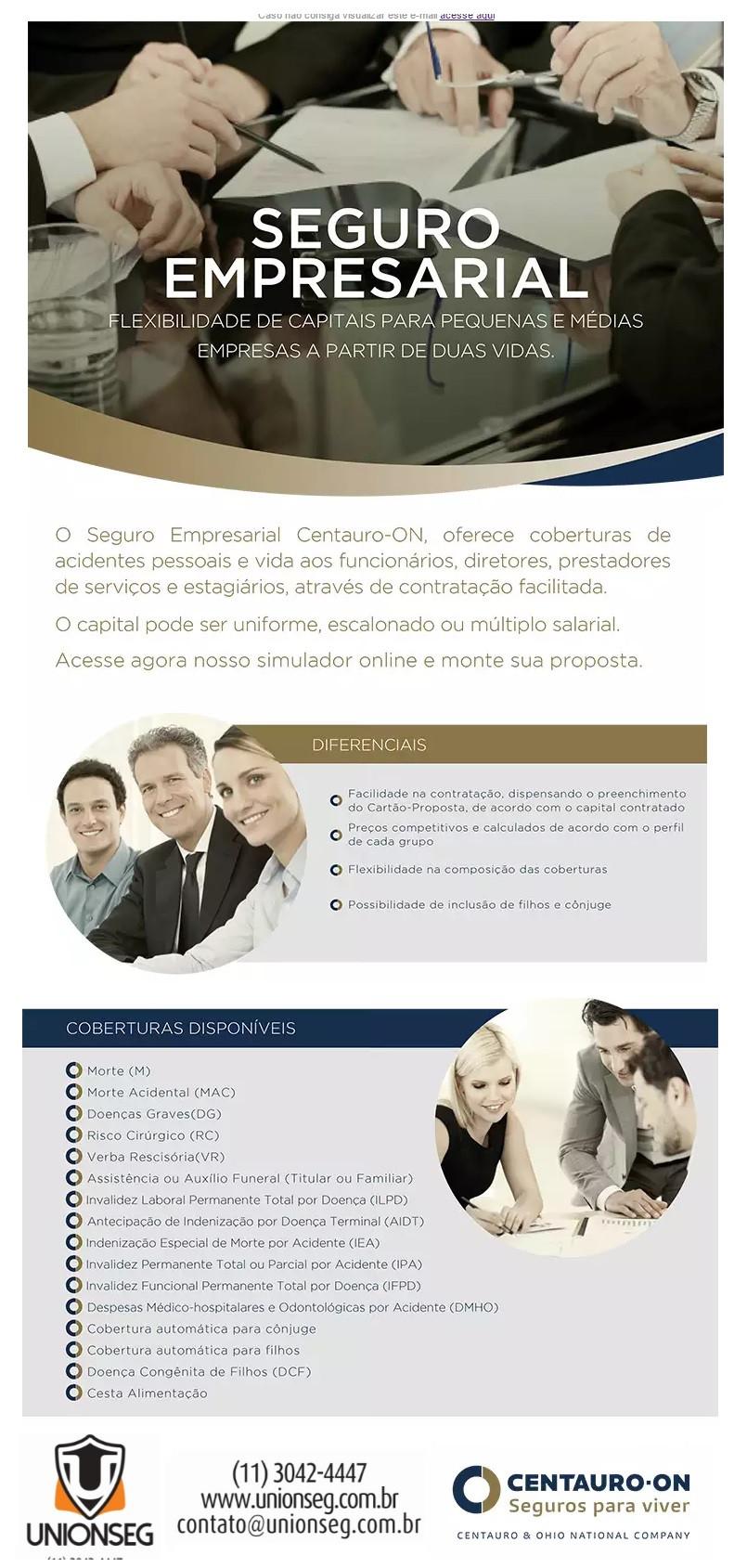 seguro de vida empresarial, seguro de vida capital global, seguro de vida pme, centauro-on, unionseg, corretora de seguros