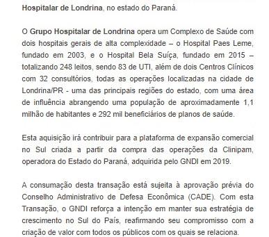 Nova Aquisição do GNDI - Grupo Hospitalar de Londrina