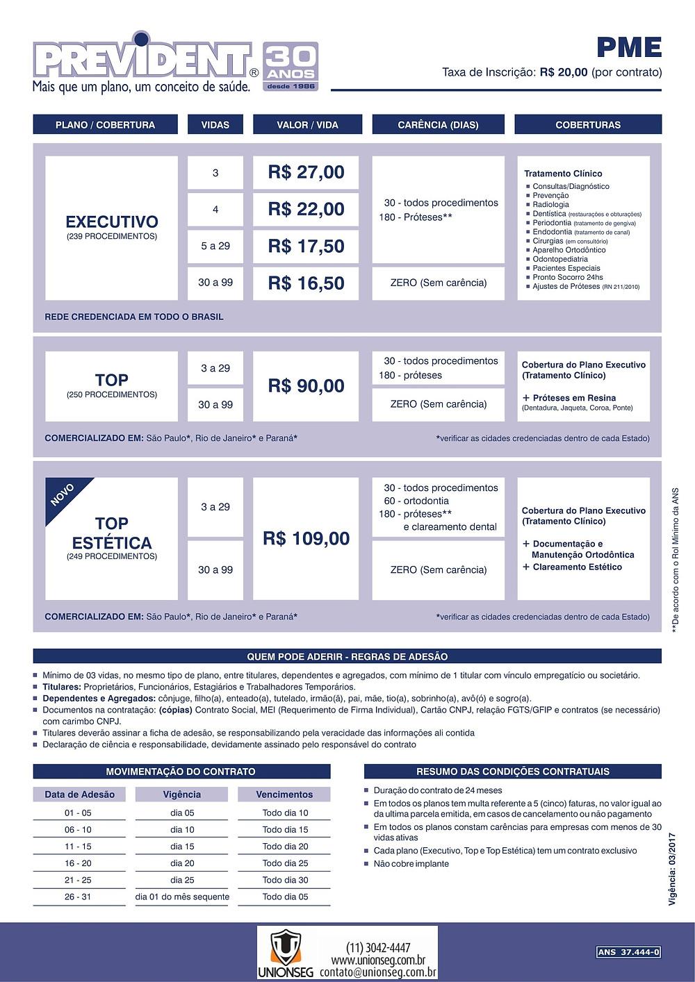 Tabela de Preço Prevident, Prevident, Prevident PJ, Prevident PME, Plano Odontológico, Plano Odontológico PME, Odonto Empresarial, Unionseg, Corretora de Seguros