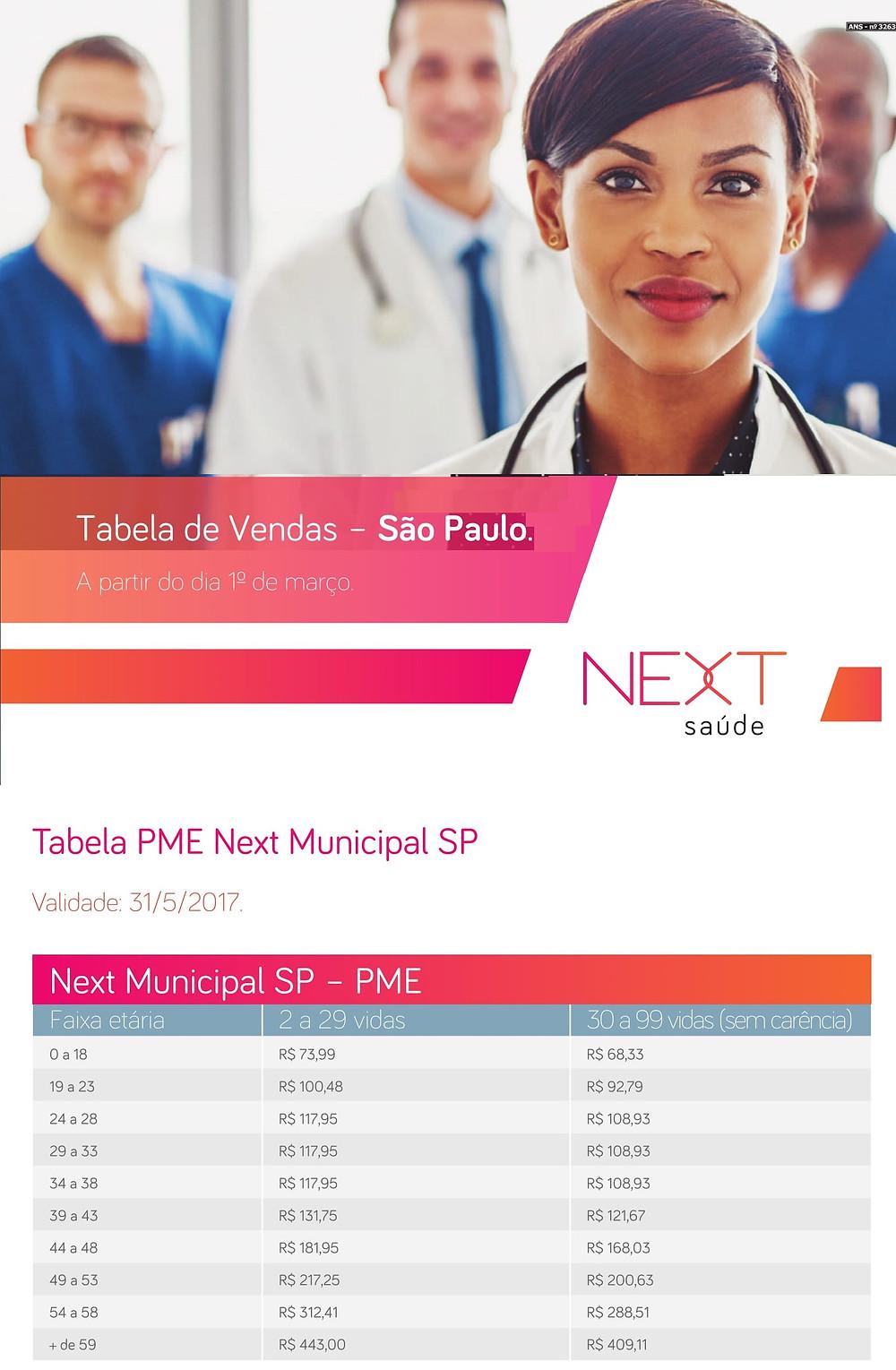 Tabela de Preços Next, Next Saúde, Plano de Saúde, Plano de Saúde PME, Convênio Médico, Uninseg, Corretora de Seguros