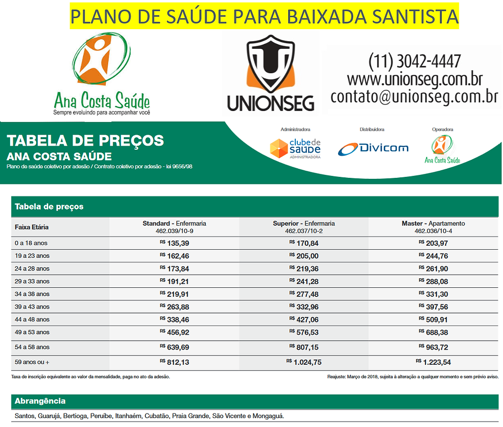 Ana Costa Saúde, Divicom, Plano por Adesão,ABRACEM, FCDL, UDFE, Unionseg, Corretora de Seguros