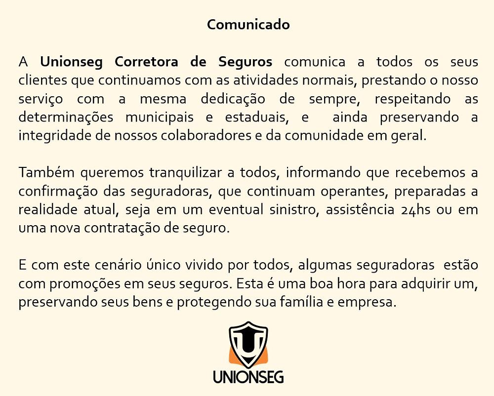 Comunicado Unionseg Covid