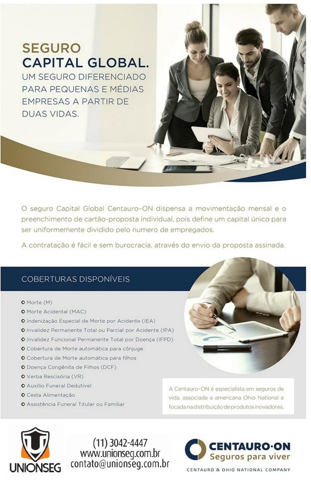 Centauro-ON, Capital Global, Seguro de Vida Empresarial, Seguro de Vida PME,  Acidentes Pessoais, Vida em Grupo, Seguro para Profissionais, Unionseg, Corretora de Seguros