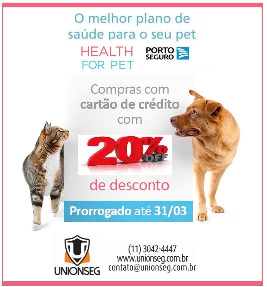 Promoção Health For Pet, Health4Pet, Seguro para Cães, Seguro para Gatos, Unionseg, Corretora de Saúde