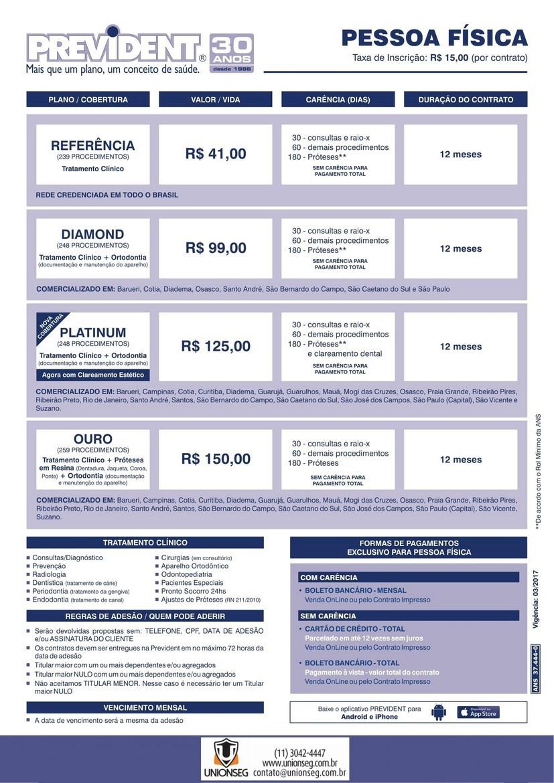 Tabela de Preço Prevident, Prevident, tabela de preço, plano odontológico, ortodontia, unionseg, corretora de seguros