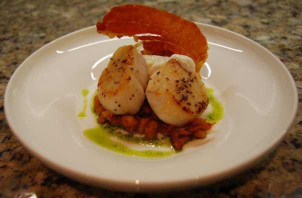 Seared scallops. pancetta & bean rag