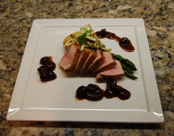 Roast pork loin. Cherry compote